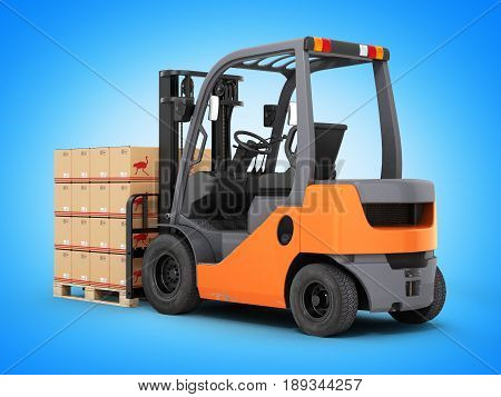 Forklift Truck With Boxes On Pallet Isolated On Blue Gradient Background 3D
