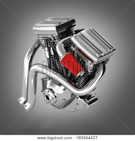 Motorcycle Engine V Twin Isolated On Gradient Backround 3D