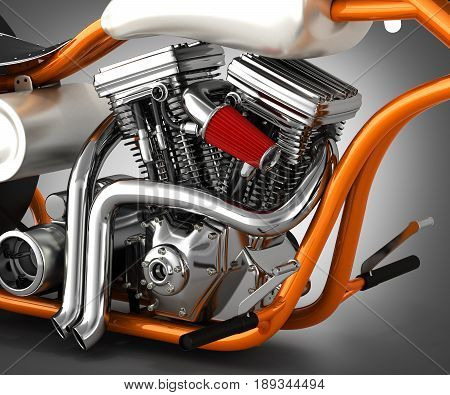 Motorcycle Engine V Twin On Grey Gradient Background 3D Render