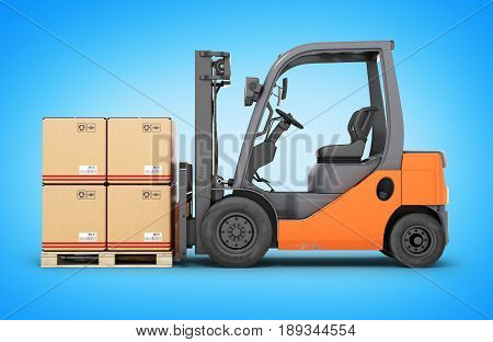 Forklift Truck With Boxes On Pallet On Blue Gradient Backround 3D Render