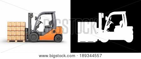 Forklift Truck With Boxes On Pallet On White Background With Alpha 3D