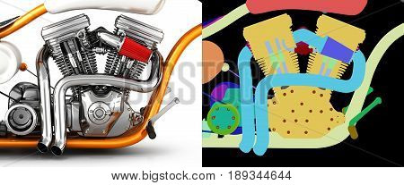 Motorcycle Engine V Twin Isolated On White Background With Alpha Colour 3D Illustration