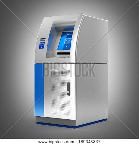 Atm Bank Cash Machine On Grey Gradient Backround 3D