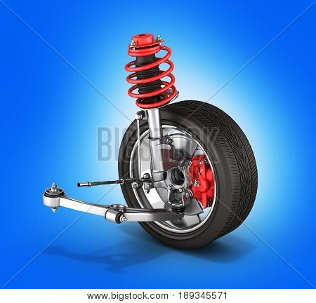Suspension Of The Car With Wheel Without Shadow Blue Background 3D