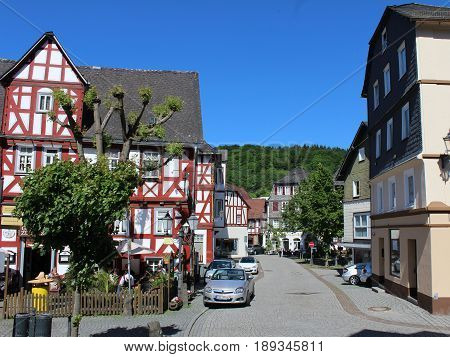 DILLENBURG, GERMANY, MAY 27 2017: View of the historic old town center of Dillenburg in Hesse which is a popular tourist destination and part of the 'German Timber Frame road'.