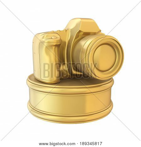 Photography Camera Trophy Award isolated on white background. 3D render