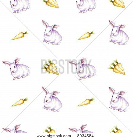 Easter Bunny with a carrots. Rabbits and a carrots hand drawn. Seamless pattern on white background for Easter, decoration, design, wallpapers, textile, tissue, clothing, dress, clothes, bed linen, party, greeting cards