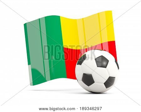 Football With Waving Flag Of Benin Isolated On White