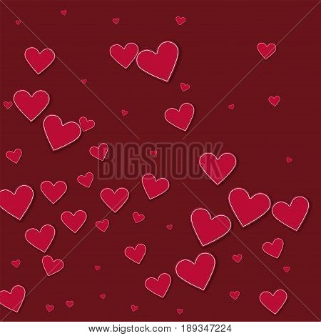 Cutout Red Paper Hearts. Abstract Mess On Wine Red Background. Vector Illustration.