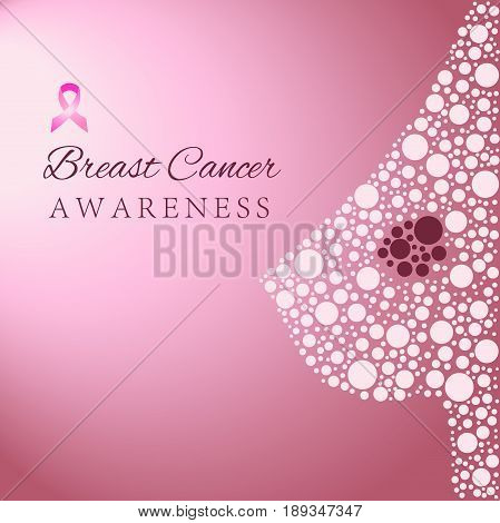 Silhouette of the female breast with cancer formation, breast cancer awareness concept