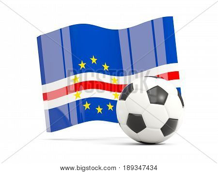 Football With Waving Flag Of Cape Verde Isolated On White