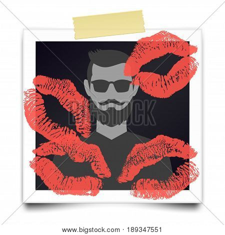 Vintage realistic photo frame with bearded man silhouette and many lipstick marks. Photographic with adhesive tape. Template photo design. Romantic card for Valentines day. Vector illustration