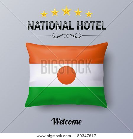 Realistic Pillow and Flag of Niger as Symbol National Hotel. Flag Pillow Cover with Nigerien flag