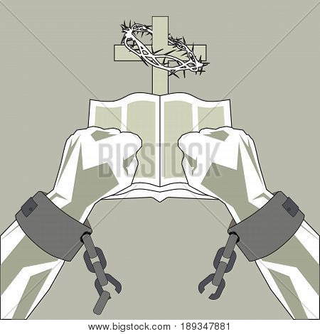 poster of The Bible breaks the shackles of man. The hands of man break the chains on the background of the cross and the Bible.