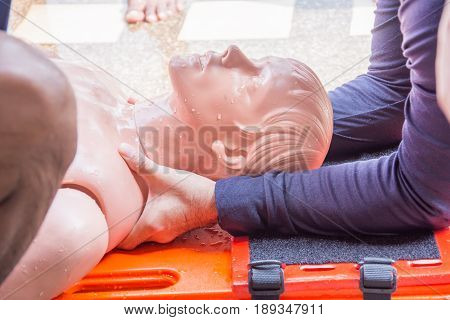protect spine injury dummy on the long spinal board