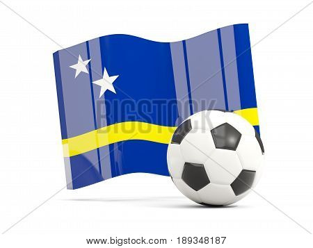 Football With Waving Flag Of Curacao Isolated On White