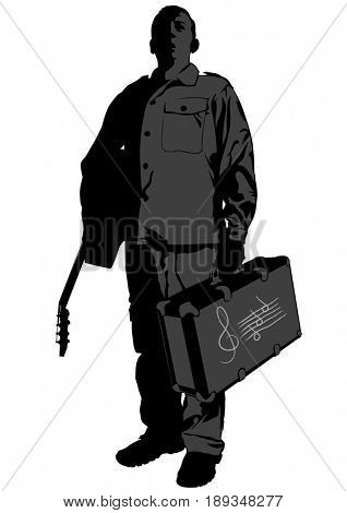 Man with acoustic guitar and suitcase in his hands on white background