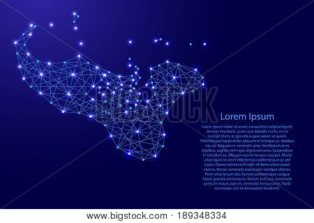 Map of Tonga from polygonal blue lines and glowing stars vector illustration
