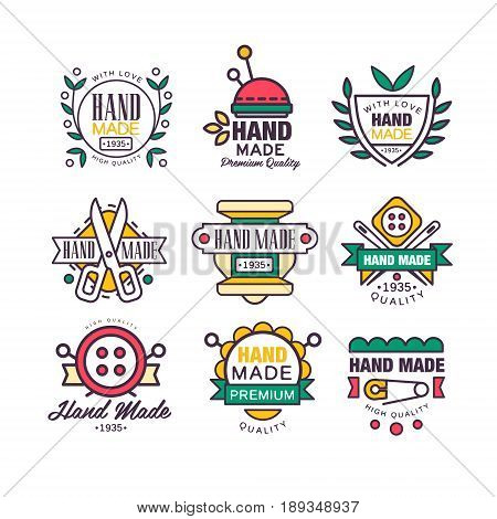 Hand made, knitting and tailor set of labels vector Illustrations for workshop, taylor studio, shop, advertising, tags, emblems
