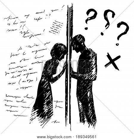 Incomprehension couple man woman talking through the wall. Sketch vector illustration. Misunderstanding conflict opposition concept.