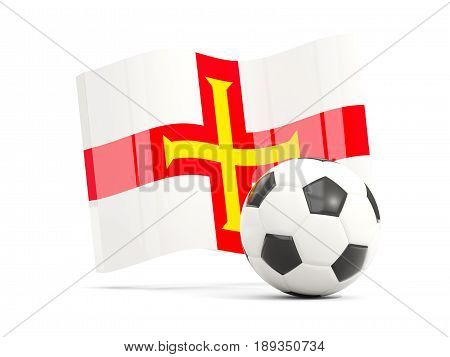 Football With Waving Flag Of Guernsey Isolated On White