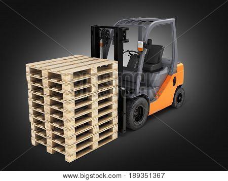 Forklift Loader With Pallets On Black Gradient Background 3D