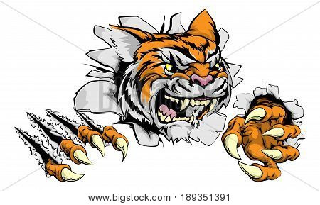 A tough tiger animal sports mascot breaking through a wall