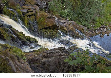 Yukankoski waterfall on the river Kulismayoki In Karelia