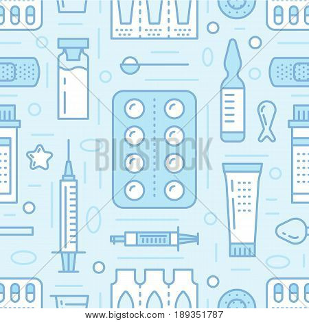 Medical, drugstore seamless pattern, pharmacy vector colored background of blue color. Medicines antibiotics, vitamins, painkillers, pills. Healthcare cute repeated illustration for hospital.