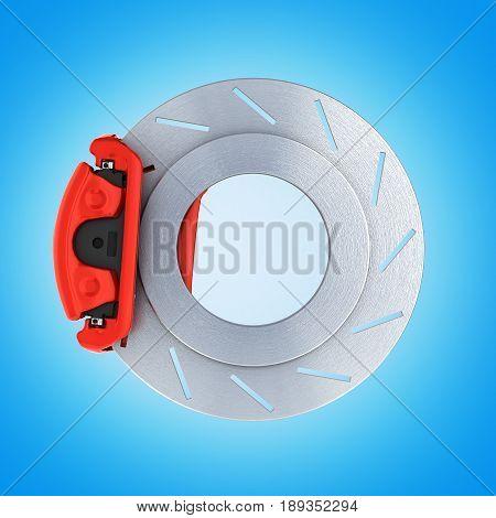 Automobile Braking System.car Part Steel Brake Disk On Blue 3D.