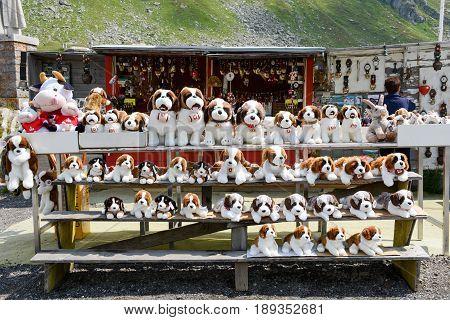 St. Gotthard, Switzerland - 10 August 2015: Plush dog Saint Bernard at a market on mount St. Gotthard on the Swiss alps