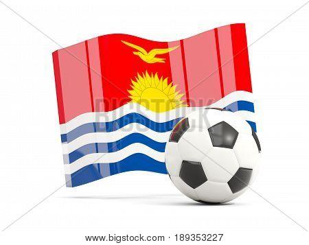 Football With Waving Flag Of Kiribati Isolated On White