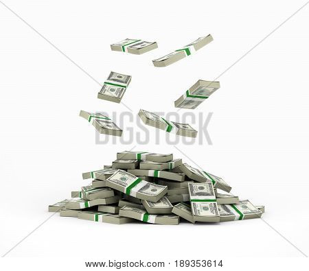Stack Of Money American Dollar Bills Falling Into A Pile 3D Render