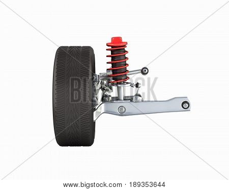 Suspension Of The Car With Wheel Side View Without Shadow On White Background 3D