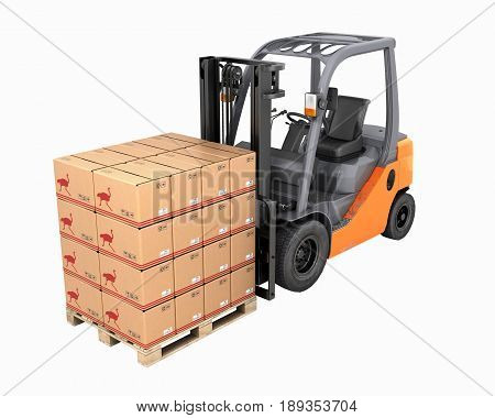 Forklift Truck With Boxes On Pallet Perspective View Without Shadow On White Background 3D