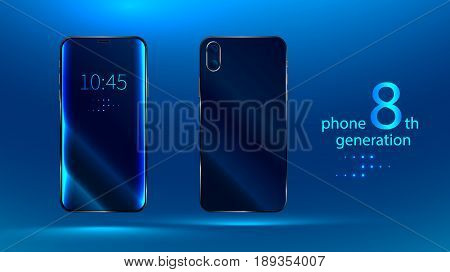 Modern mobile phone or a smartphone of the latest 8 th generation. Front view and rear view. The touchscreen and camera. Blank empty mock up. Vector realistic illustration