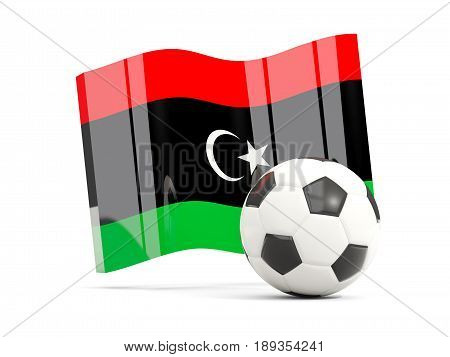 Football With Waving Flag Of Libya Isolated On White