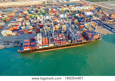 Logistic container shipping boat at shipping yard main transportation of cargo container shipping. Photo concept for Global business shippingLogisticImport and Export industries.