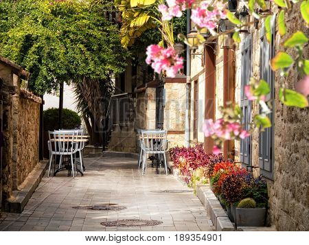 Alley with flowers in Antalya,Turkey