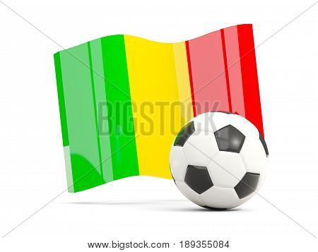 Football With Waving Flag Of Mali Isolated On White