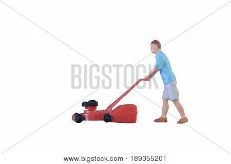Close Up Of Miniature Gardener People Isolate With Clipping Path On White Background. Elegant Design