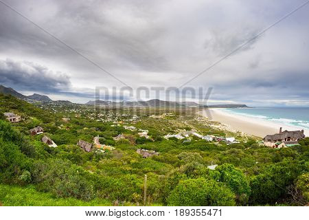 The Scenic Noordhoek Beach With Dramatic Sky In Winter. Panoramic View From Chapman's Peak Drive, Ca