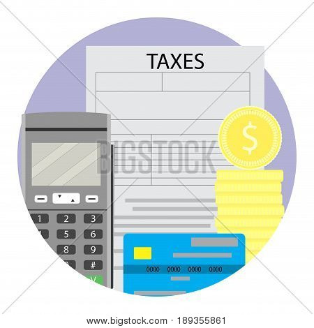 Concept of taxation. Accounting and online tax annual vector illustration