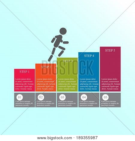 Modern design for business steps options diagram info graphic. The man goes up the stairs. Info graphic. Layout design. Template. Web design. Five step.