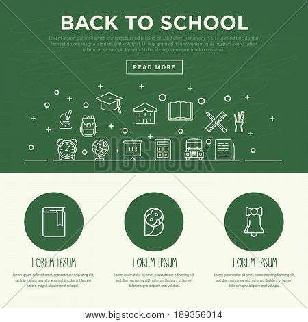 Back to school concept with thin line icons. White chalk on a green school board. Vector illustration.
