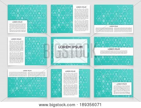Set of modern scientific banners. Molecule structure of DNA with thin line icons inside. Abstract background. Medicine presentation, science, technology, business and website templates.