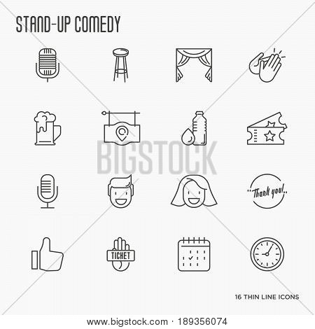 Set of thin line icons on theme stand up comedy show. Vector illustration.