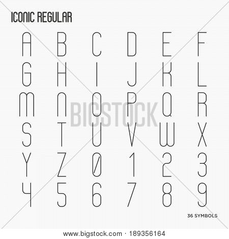 Simple minimalistic thin line font with uppercase letters and numbers. Linear typeface. Vector illustration.