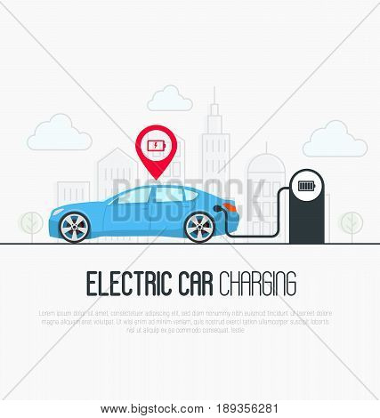 Electric blue car with low battery pointer and charging station on megapolis background. Thin line vector illustration.