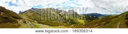 Panoramic view of Mount Ciucas on spring part of Carpathian Range from Romania
